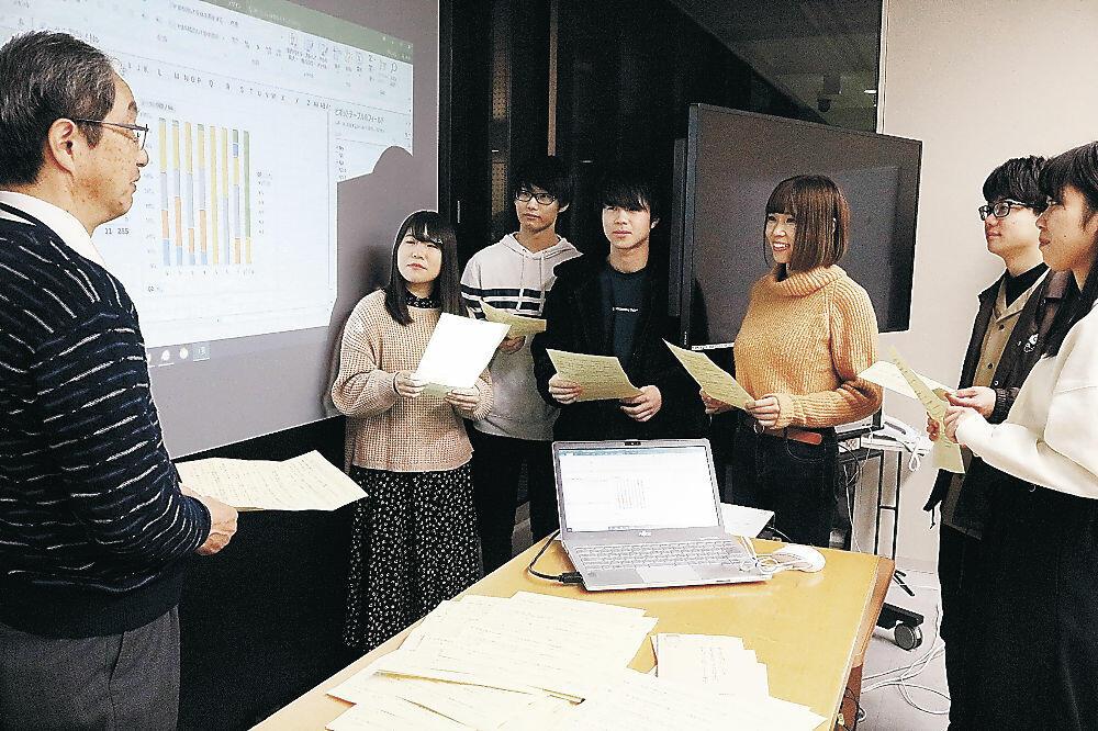 伊藤教授(左)から助言を受けてアンケート結果の分析を進める学生=金沢工大扇が丘キャンパス
