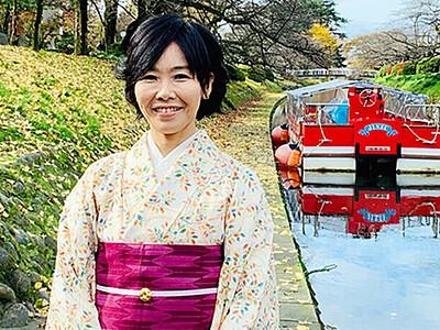 松川遊覧船に初の女性操舵手 和服着てガイド兼務