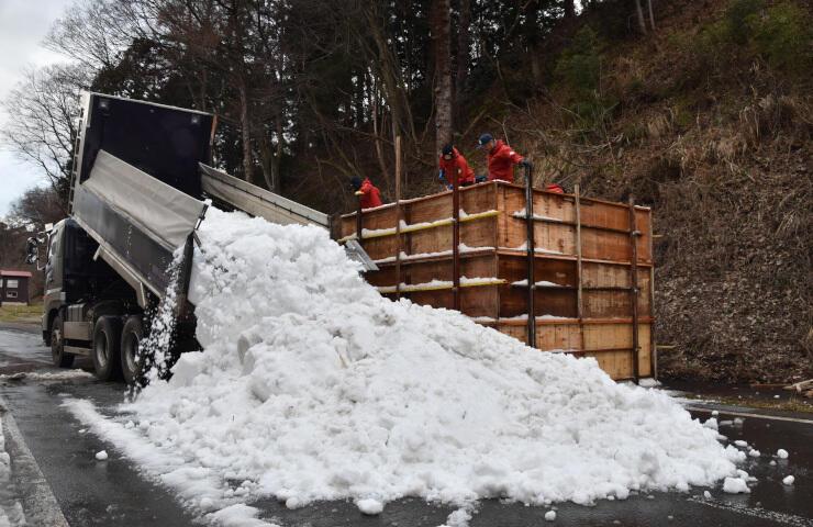 「いいやま雪まつり」の雪像作りに向けてトラックで運び込まれた雪=29日