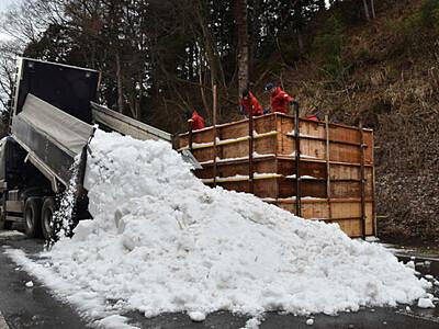 「いいやま雪まつり」へ雪搬入 なべくら高原から大型像用に