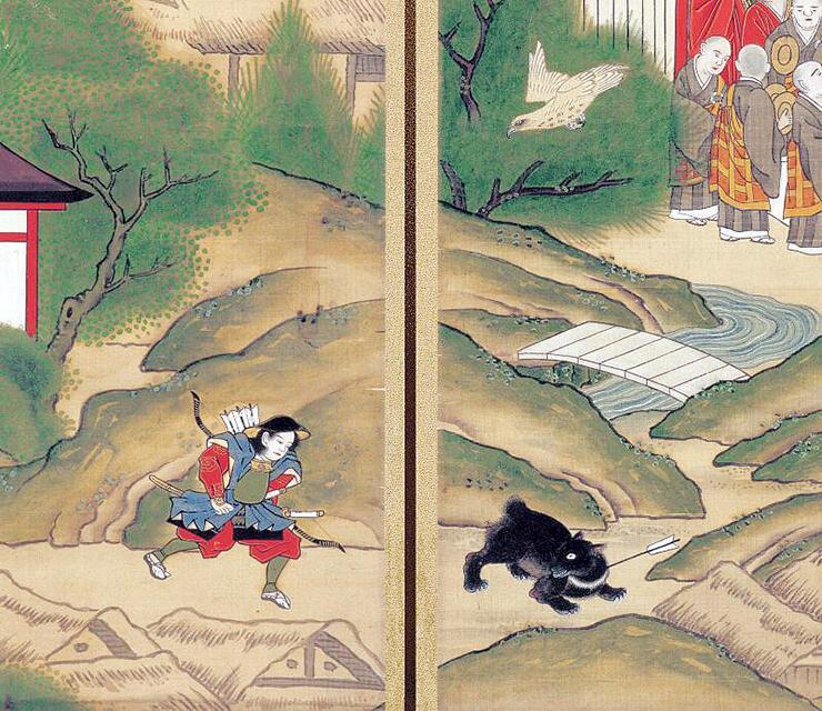 有頼が熊に矢を射る場面が描かれた立山曼荼羅大仙坊A本
