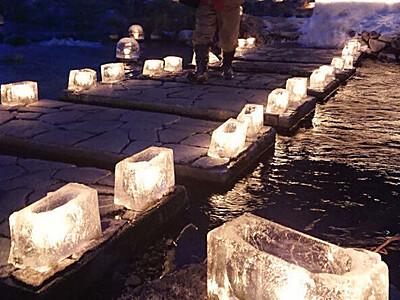 木曽町、宿場ともすアイスキャンドル 木曽谷各地で「灯祭り」