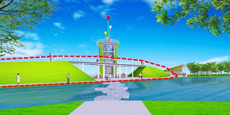 愛称が「チューリップスカイウォーク」に決まった新しい園路(赤い点線内)の図