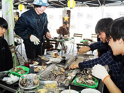 石巻産のカキおいしい 富山城址公園、東北復興支援でカキ小屋