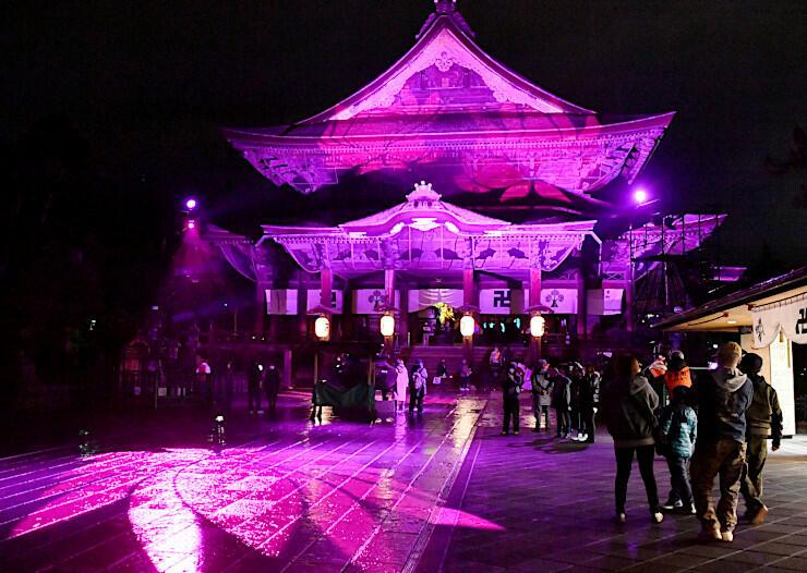 ハスの花などが投影された善光寺の本堂や参道。光の演出を参拝者らが楽しんだ=22日午後7時37分、長野市