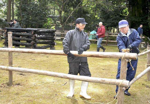 ヒノキの丸太をくいに結びつけて結界を設置する参加者=2月23日、福井県小浜市の神宮寺