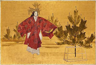 展示スペースに飾られる能を描いた壁画
