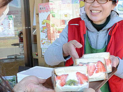 喬木特産イチゴのサンド、人気 移動販売の女性、旬をお届け