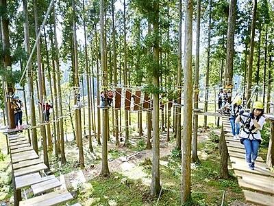ツリーピクニック拡張し体験の森 池田町の体験施設、滞在リゾート目指す