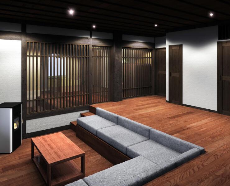 古民家を改装した宿泊施設の内部のイメージ(ちの観光まちづくり推進機構提供)