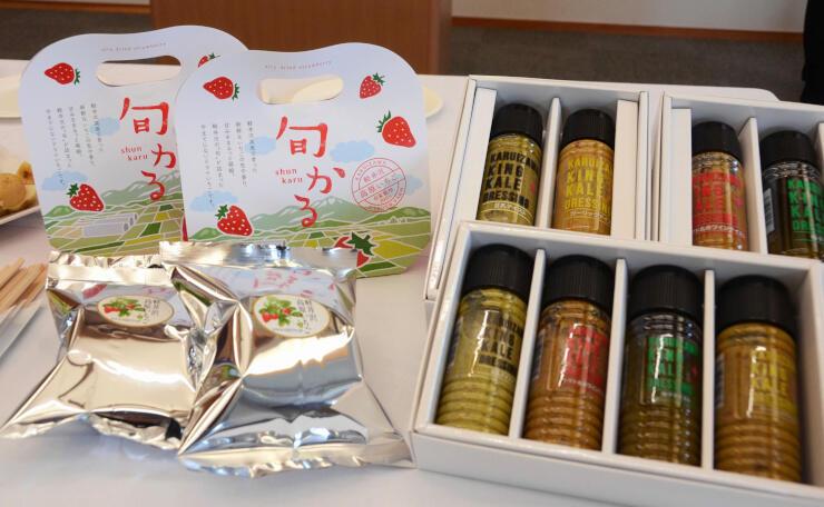 新たに軽井沢ブランドに認定された旬かる(左)と軽井沢キングケールドレッシング