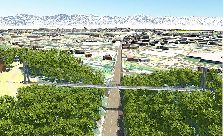 富山市が提示した歩道橋のイメージ図。県道を挟み向かい合う城山公園(右)と呉羽山公園(左)をつなぐ