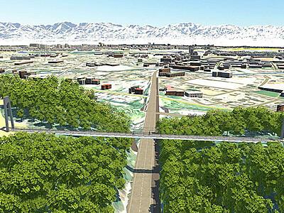 呉羽丘陵長さ124メートルつり橋 富山市整備案、旧国道8号上