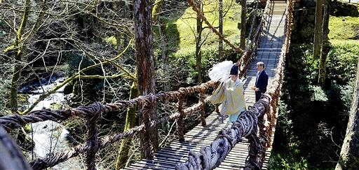 約10年ぶりに全面リニューアルされ安全祈願祭が営まれたかずら橋=3月26日、福井県池田町土合皿尾