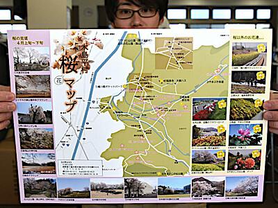 マップ手に花巡りを 木島平の桜...見どころ紹介