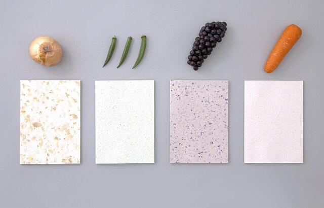 野菜や果物の皮を原料としたフードペーパー(五十嵐製紙提供)