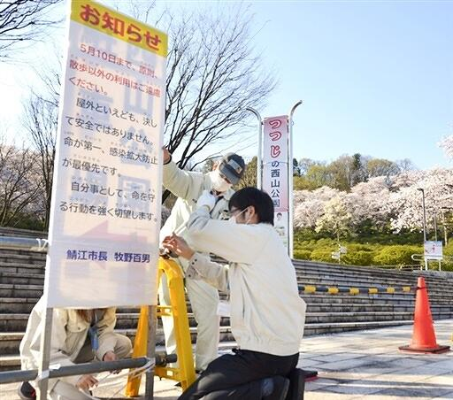 入場規制の看板を設置する鯖江市職員=4月7日、福井県鯖江市西山公園