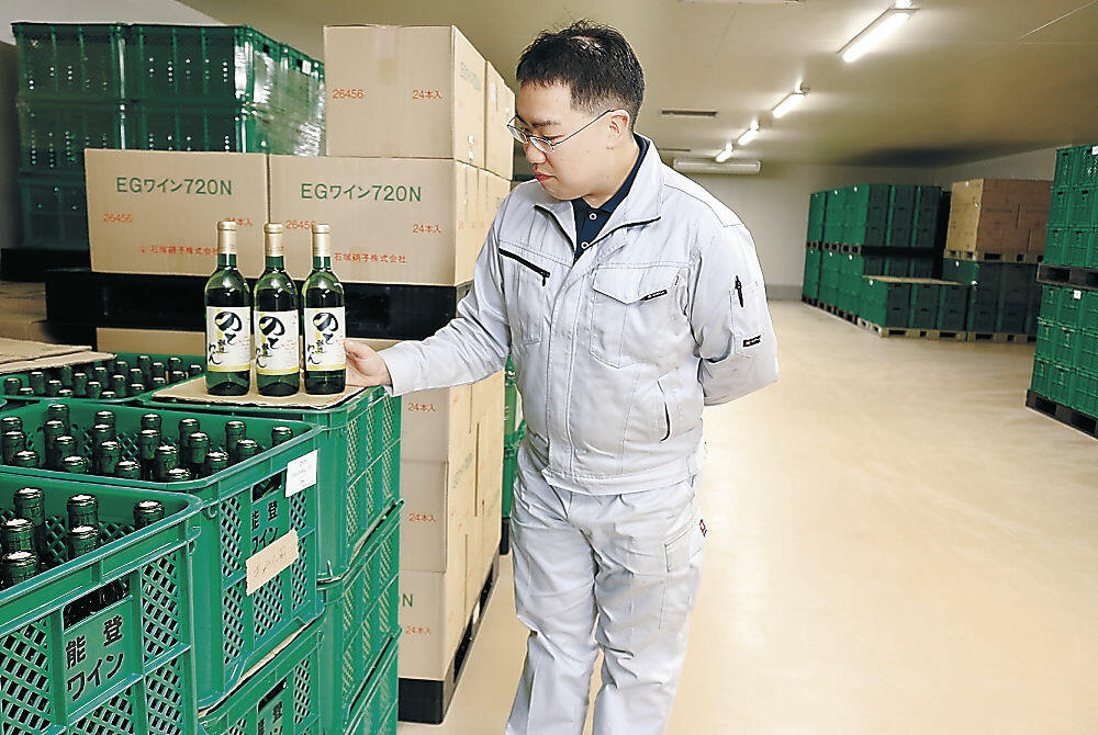 増設されたワインの貯蔵施設=穴水町旭ケ丘の能登ワイン