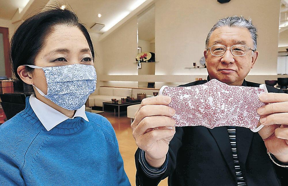 北市漆器店が製作したマスク=加賀市別所町
