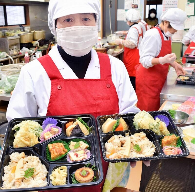 花みずき味人が作った「たけのこづくし弁当」=4月11日、福井県越前町樫津