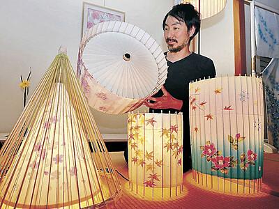 加賀友禅の技で 金沢の作家が照明を制作