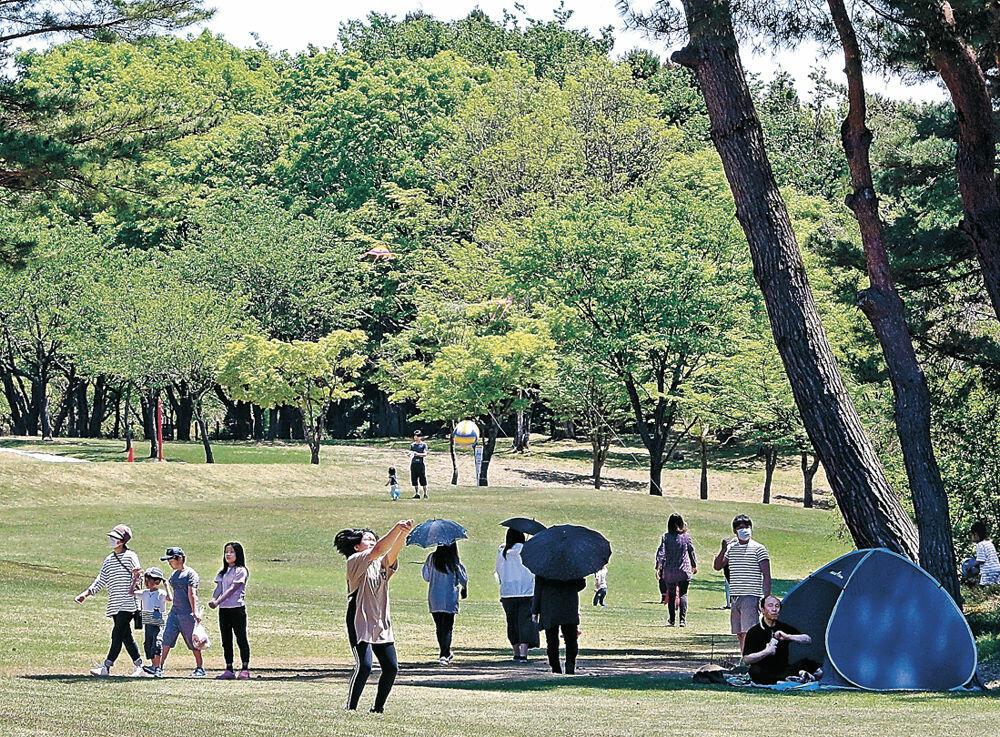 鮮やかな新緑の下で遊ぶ家族連れ=金沢市の奥卯辰山健民公園
