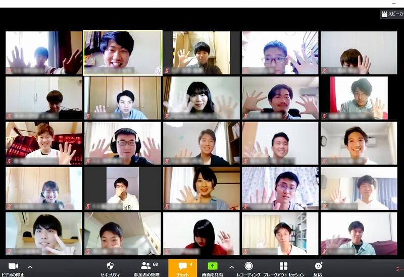 福井大生たちがズームで交流したオンライン新歓