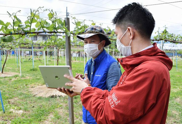 タブレット端末に向かって農業や中野市の暮らしについて話す関さん(奥)