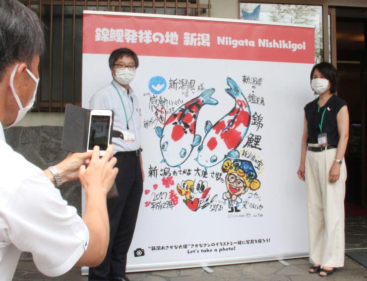 写真撮影用に設置された、さかなクンが描いた錦鯉のイラスト=小千谷市の錦鯉の里