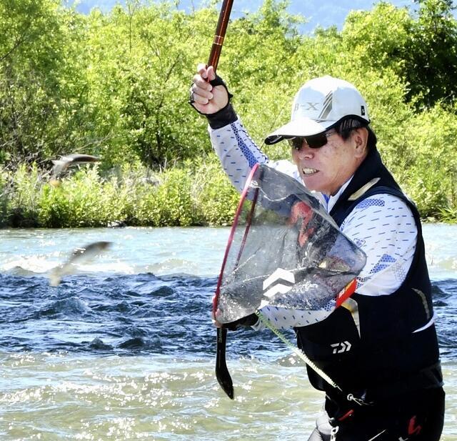順調に育ったアユを釣り上げる組合員=6月17日、福井県大野市中保の真名川
