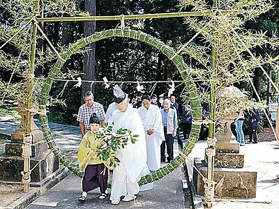 酒垂神社 茅の輪くぐりコロナ終息祈る