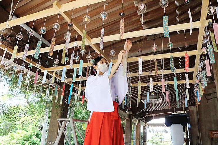 拝殿に風鈴を飾るみこ=高瀬神社