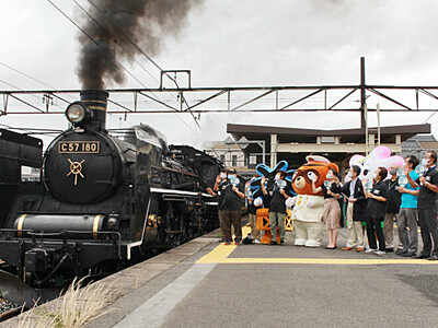 SLばんえつ物語 8月再開 新津駅で商店主らPR活動