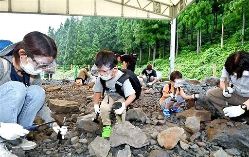 野外恐竜博物館で化石の発掘体験を楽しむ親子連れ=7月14日、福井県勝山市北谷町杉山