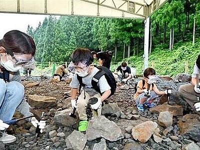 化石発掘体験歓声戻る 県立恐竜博物館20年