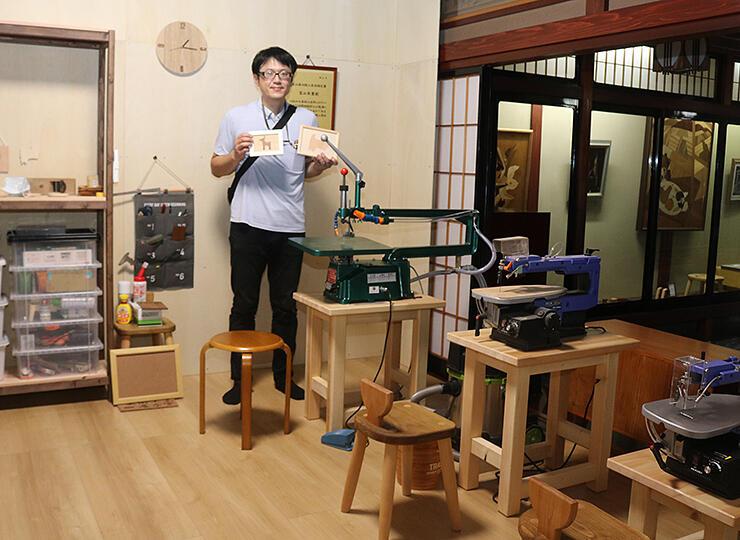 完成した「富山木象嵌」の常設体験施設