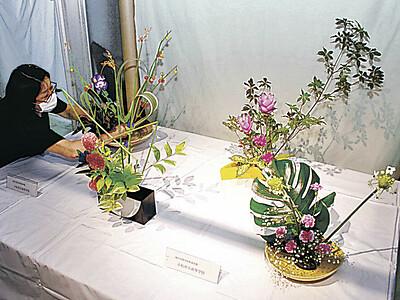 小松市民病院に高校生の生け花 市内4校が展示