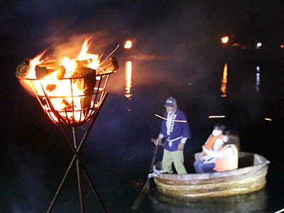 夜光虫に誘われ たらい舟ナイトクルーズ 佐渡・宿根木