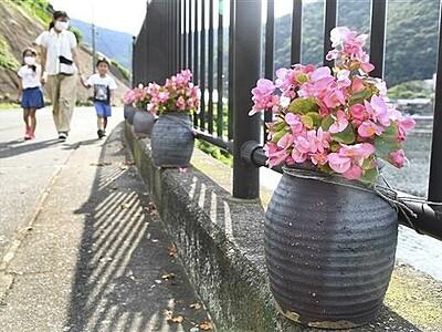 タコつぼに花、港町彩る 漁具を再利用 福井県美浜・日向
