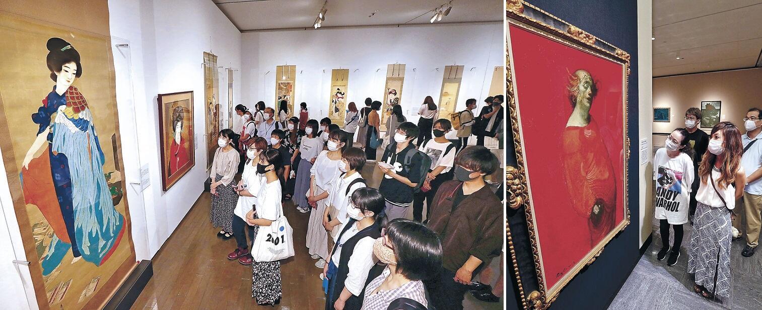 (左)来館者の目を引き付けた美人画の秀作=金沢21世紀美術館 (右)鴨居の代表作に目を凝らす来場者=金沢市の石川県立美術館