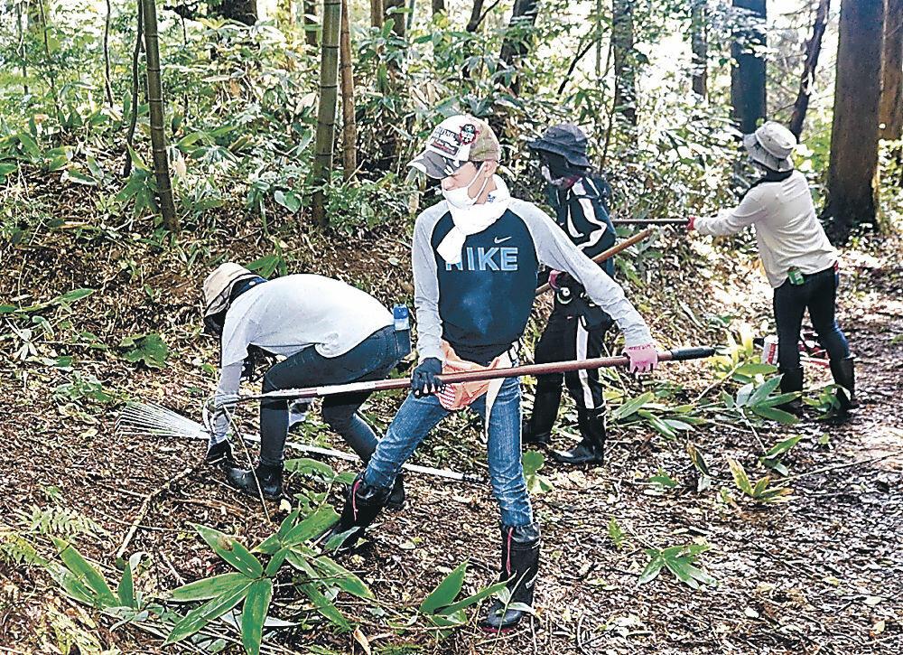 臼ケ峰周辺で古道の保全、清掃活動に取り組む参加者=宝達志水町見砂