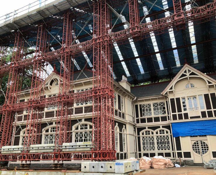 工事中の旧三笠ホテル