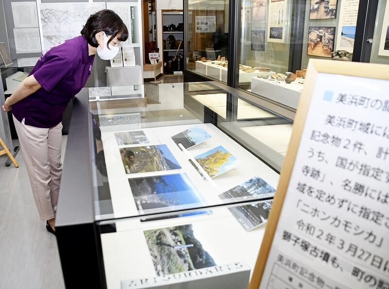 美浜町内で確認できる国指定の史跡や名勝の写真などが並ぶ「記念物100年」展=同町歴史文化館