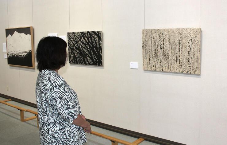 開館30周年を記念し開かれている企画展「白と黒の詩」=南魚沼市のトミオカホワイト美術館