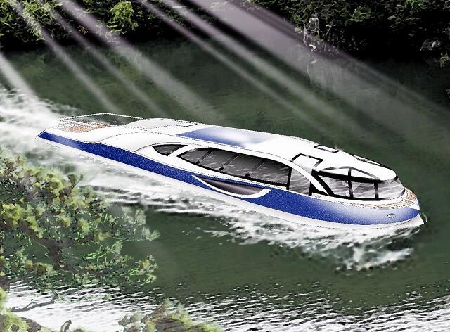 観光遊覧船の電池推進実証船の完成予想図