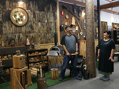 キャンプ用品の店オープン 阿智の農産物直売所を改装