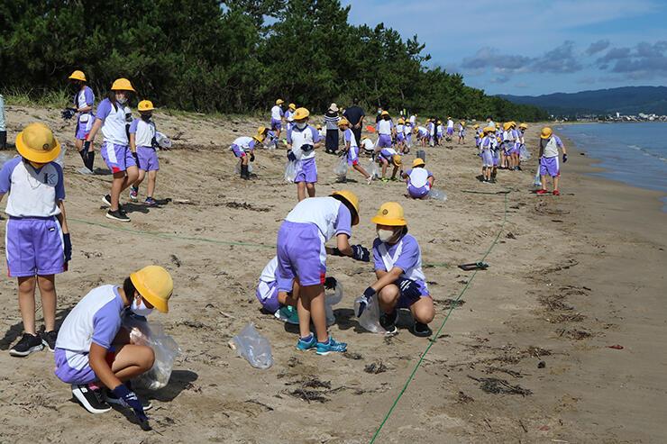 プラスチックなどの漂着物を集める児童
