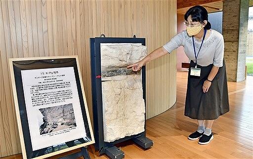 隕石が落下した痕跡が残る地層「K―Pg境界」=18日、福井県若狭町の県年縞博物館