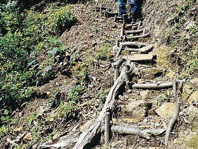 「役行山(えんぎょさん)洞窟」に遊歩道 小松・那谷住民が再整備、訪問期待