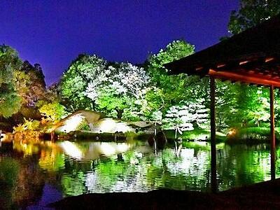 秋夜に浮かぶ光の庭園 福井・養浩館ライトアップ